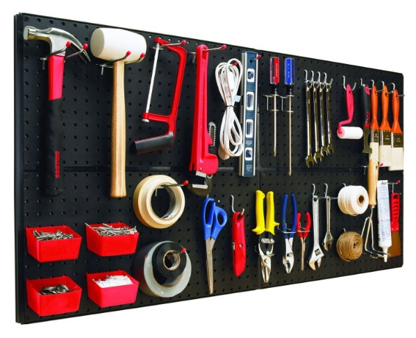 For items and tools you use less, try a peg-board. They come in metal, wood, and plastic. Select one depending on your needs! Heavy items? Try out a metal peg board!