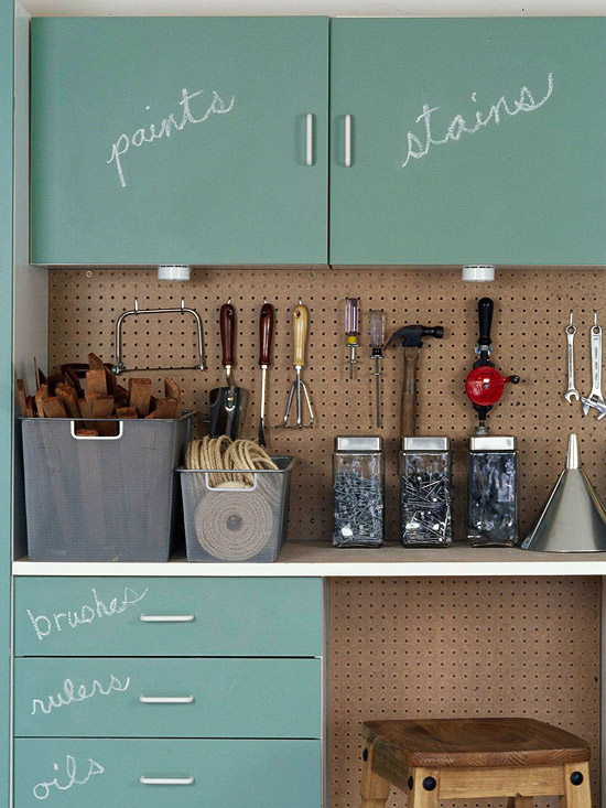 If you have cabinets in your garage, consider painting them with chalkboard paint. Why? Because labels can be changed easily, so reorganization isnt an ordeal. It will help keep your space free from clutter