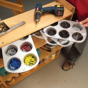 Not everyone has the skills or time to build DIY shelves and drawers. An easy solution to organizing all of those odds n ends in your toolbox is to use jumbo muffin tin. They will keep your various items separate while being easy to access!