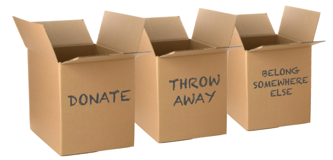 Once youre items are in view, look through them and make 3 piles. Keep, Donate, Throw away and organize accordingly